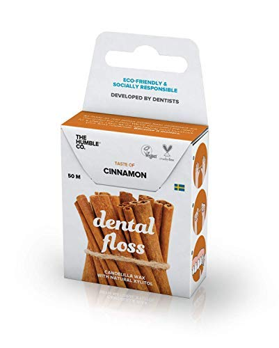 The Humble Co. Zahnseide   Zimt   Umweltfreundlich, Vegan, Zuckerfrei, von Zahnärzten empfohlen - Entfernt Plaque und Verleiht ein Frisches Gefühl (1 x 50m)