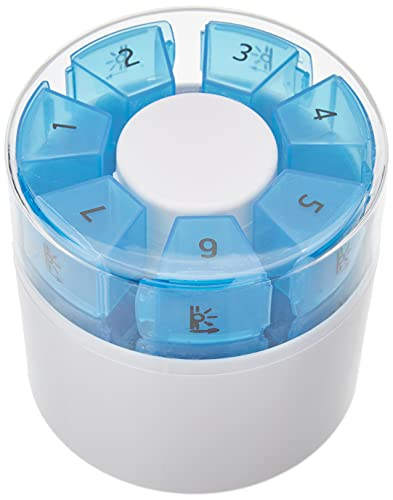 Dosificador de medicamentos para 7 DÍAS First Aid Only con divisor de pastillas y mortero, 7 cartuchos cada uno con 4 compartimentos etiquetados para 4 periodos del día, blanco/azul, plástico, P-10000