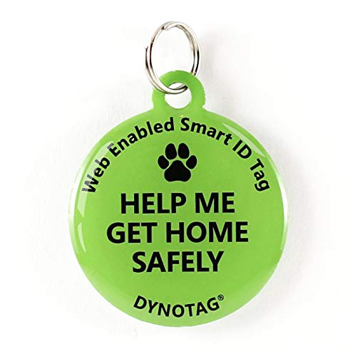 Dynotag Web Enabled Super Pet ID Smart Tag. Deluxe Coated Steel, with DynoIQ & Lifetime Recovery Service. Fun Series (Green: Help Me Get Home Safely)