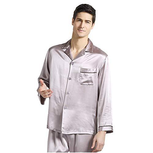 qazxsw Herren Seide Pyjama Herren Hemd Stil Revers Langarm Stickerei Floral Home...