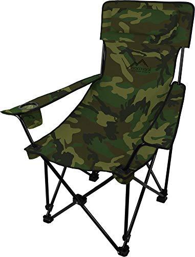 Sehr Stabiler Klappstuhl Campingstuhl Angelstuhl mit Getränkehalter, Abnehmbarer Polsterung Tragetasche - bis zu 150 kg Farbe Wood-Land