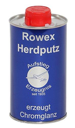 Rowex Herdputz - Spezialreiniger für Herdplatten und Gasherde - Edelstahlreiniger - Löst selbst hartnäckige Verschmutzungen, Verkrustungen und Eingebranntes - 1x 375ml