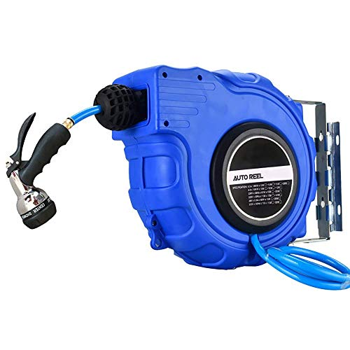 Auto Reel Wall-Mounted Garden Reel With Sprayer Nozzle, Wall Bracket And Any Length Lock Automatic Reel For Car Wash Shop Factory Garden for Home Gardening (Color : Blue 10m, Size : 330x330x125mm)