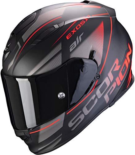 Scorpion Casco de moto EXO-510 AIR FERRUM Matt Black-Silver-Red, Negro/Gris/Rojo, M