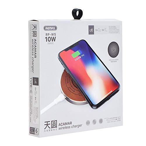 Remax - 10 W snel opladen draadloze oplader, [nieuwe versie] Remax mobiele draadloze oplader snel opladen voor iPhone, Qi Ultra Slim draadloze oplader met TOP in eco-leer voor iPhone X / iPhone 8 / iPhone 8 / iPhone 8 Plus / Samsung S8 / S8 Plus / S7 / S7 / S7 Edge, S6 / S6 Edge / S6 Edge / S6 Edge Plus, Note 5 en andere telefoons met Qi-geactiveerde technologie