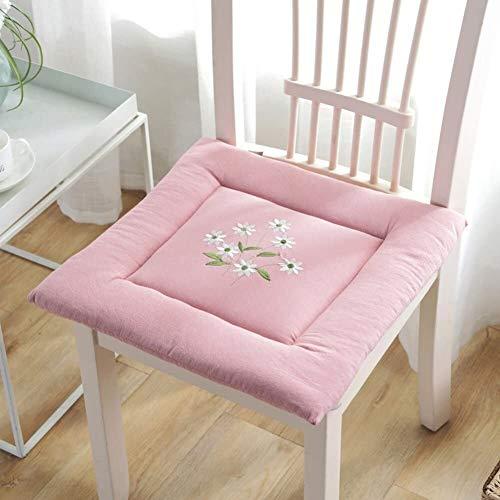 Cojines de asiento de algodón para sillas de comedor, con lazos, cojín cuadrado acolchado Tatami bordado para oficina, hogar, jardín, 40 x 40 cm, tamaño: 40 x 40 cm, color: azul marino