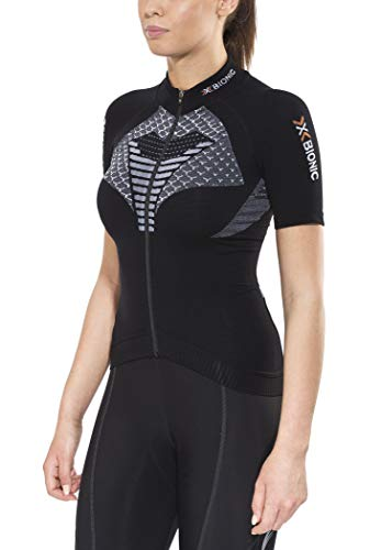 X-Bionic Biking Lady TWYCE Ow SH_SL.Full Zip T-Shirt Femme, Noir/Blanc, XL