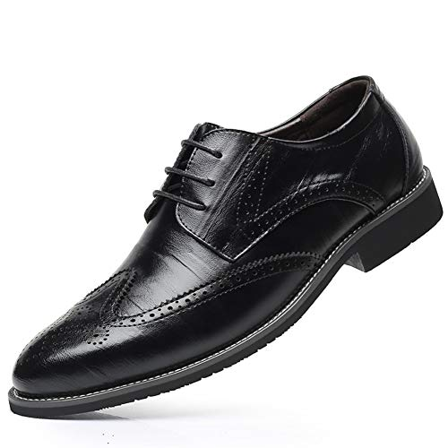 Victorics Men's Modern and Classic Leather Shoes Lace-up Oxfords with Hollow Carved Design Size 13 Black