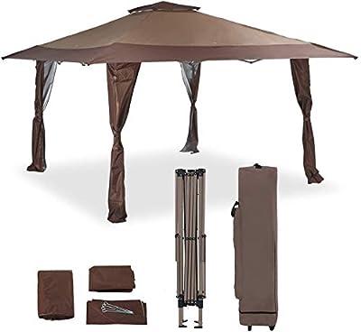 PHI VILLA 13'x13' UV Block Sun Shade Canopy with Hardware Kits, Gazebo Shade for Patio Outdoor Garden Events, Brown