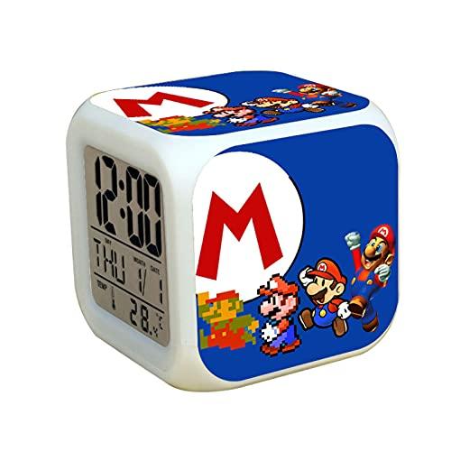 Super Mary - Reloj despertador multifuncional con calendario, termómetro