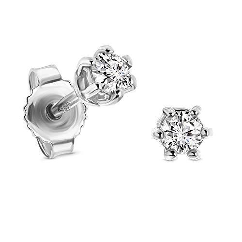 Miore pendientes 6 garras con presion oro blanco 14 kt 585 con diamantes talla brillante 0,25 ct