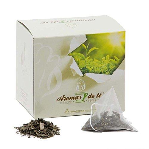 Aromas de Té - Té Verde de Aloe Vera en Bolsitas Efecto Digestivo y Aroma Fresco y Suave con Trozos de Piña Propiedades Protectoras de la Flora Intestinal, 20 Pirámides