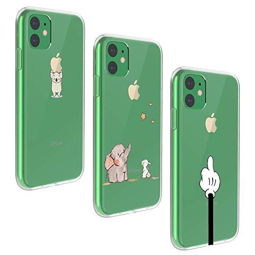 Oihxse [3 Pack Funda Compatible con iPhone 11 2019 6.1 Ultra Delgada Transparente Silicona TPU Suave Carcasa Elegante Patrón Lindo Bumper Anti-Rasguño Protector Teléfono Caso (13)