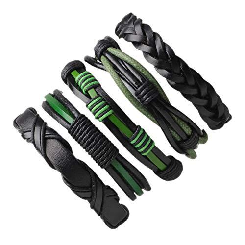DMUEZW 1 Unidades / 5 Piezas Vintage Verde Negro Pulseras de Cuero...