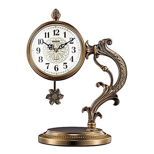 DDLN Reloj de repisa Europeo Retro, Sala de Estar, Reloj de Mesa para el hogar, Reloj de péndulo Chapado en Cobre para Dormitorio, Oficina, Estante, Reloj Decorativo, Reloj de Escritorio