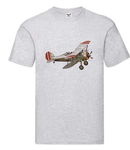 Camiseta de Manga Corta para Hombre y Mujer, diseño de avión con hélice Gris S