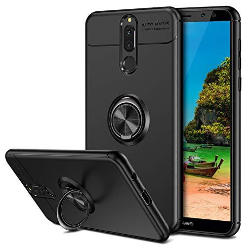 Coolden für Huawei Mate 10 Lite Hülle, 360 Grad drehbarer Ring Halter Ständer Ultra Dünn Handyhülle Case Weich TPU Bumper Cover Outdoor Stoßfest Schutzhülle für Huawei Mate 10 lite Schwarz