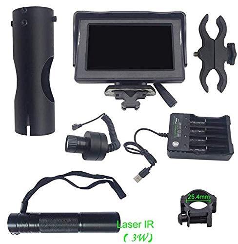 Jjsm Alcance de visión Nocturna Digital de Bricolaje para Rifle de Caza Visión Nocturna por Infrarrojos con Pantalla portátil HD de 4.3 Pulgadas con Linterna LED