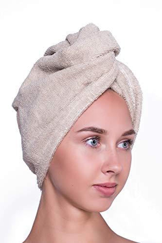 Ger3as Turban-handdoek van natuurlijk linnen en katoen, met knoop, handsfree drogen van haren en dames voor alle haartypes, snel drogend en absorberend