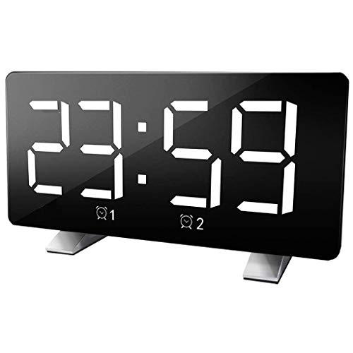 WQTT Digitale wekker Gebogen dimbaar LED-scherm Digitale klok voor Kid Senior Snooze 12 / 24H-wekker voor kantoor in de slaapkamer (Color : White)