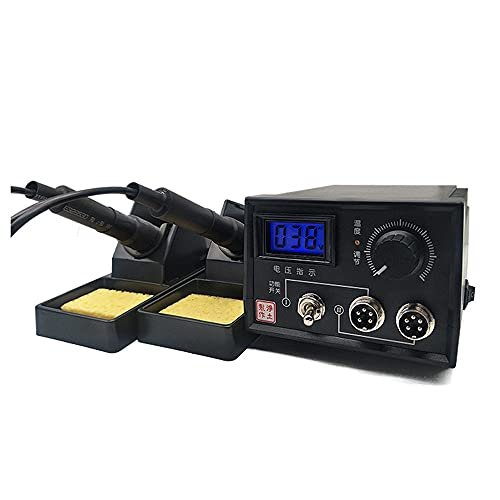 ele ELEOPTION 220V Pirografo Macchina 60W Multifunzione Pirografia Strumento Kit professionale per bruciare il legno (Doppia Penna e Doppia Presa con Display Digitale)