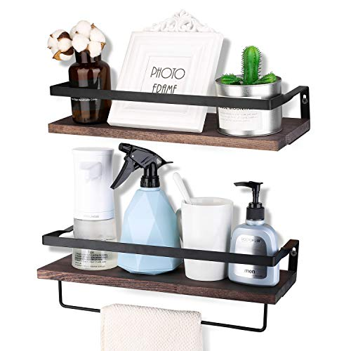 Awekris Floating Shelves Wall Mounted, Rustic Wood Wall Storage Shelves Set of 2, Wall Decorative Shelf Display Storage Rack for Living Room, Kitchen, Bathroom, and Bedroom