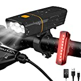 AlpsWolf Rechargeable Bike Lights Headlight and Back Light, LED Bicycle Light Set 2400 mAh Power Bank, 800LM, 3+5 Light Modes, IPX5 Waterproof, Mountain Bike Lights for Night Riding