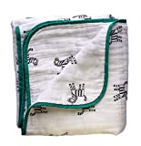 Premium Bamboo Muslin 4-Layered Baby Security Quilt | Newborn Nursery & Crib Receiving Blanket | Unisex Toddler Bedding | Shower & Registry Gift | Bear's Little Fish (Grow with ME, Zebra)