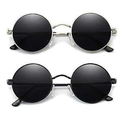 Dollger John Lennon Style Vintage Round Polarized Sunglasses for Men Women Small Circle Sunglasses