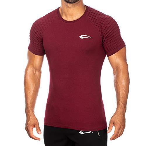 SMILODOX Herren T-Shirt Ripplez | Kurzarm | Casual Top | Funktionsshirt für Sport Fitness Gym & Training | Trainingsshirt - Laufshirt - Sportshirt mit Logo, Farbe:Bordeaux, Größe:XXXL