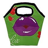 Heeh - Bolsa térmica para el almuerzo, diseño de corazón, color morado