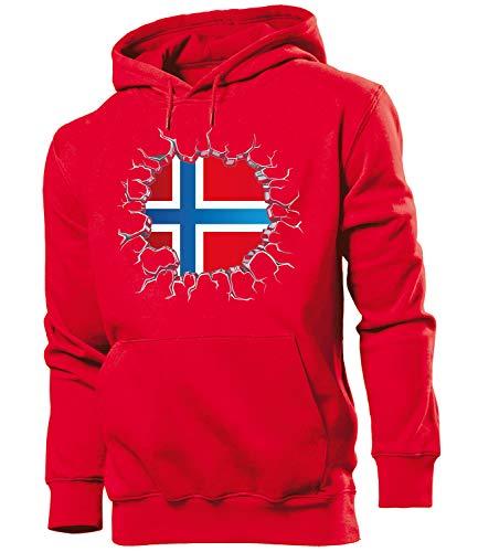 Golebros Norwegen Norway Norge Fussball Fanhoodie Fan Männer Herren Hoodie Pulli Kapuzen Pullover Fanartikel Trikot Look Geschenke Flagge zubehör Fahne fußball Fanartikel Oberteil Flag Artikel Outfit