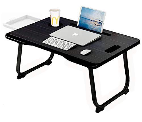 Table pliable pour ordinateur portable et table réglable - Table pliante multifonction et réglable - Plateau de lit réglable pour ordinateur portable - Blanc (noir)