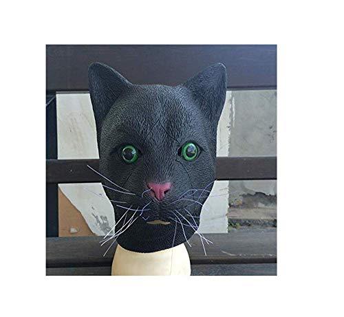 ERTY&OMB Halloween Maske Latex Full Head Black Cat Maske Realistische Horror Tier Maske Kostüm Adult Scary Karneval Unisex Requisiten Party Supplies