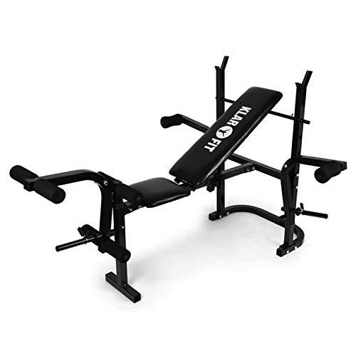 KLAR FIT Workout Hero - Panca Multifunzione, Panca Pesi, Panca per Allenamento, Curl per Braccia e Gambe, Fino a 160 kg, Schienale Regolabile su 3 Livelli, Acciaio, Nero Carbone
