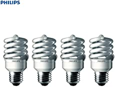 Philips LED 433557 Energy Saver Compact Fluorescent T2 Twister (A21 Replacement) Household Light Bulb: 6500-Kelvin, 23-Watt (100-Watt Equivalent), E26 Medium Screw Base, Daylight Deluxe, 4-Pack