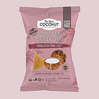 The Real Coconut, Himalayan Pink Salt, Gluten Free Coconut Flour Tortilla Chips, 5.5 ounce, 12-Pack