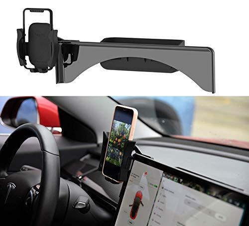 Topfit Tesla Model 3 Telefonhalterung Handyhalterung Mittelkonsole Handyhalter Handy KFZ Halterungen 2 in 1 Phone Halterung Sonnenbrillenhalter