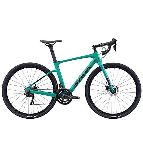 SAVADECK Bici da strada carbonio, R11 bici da corsa in carbonio 700cX40c Gravel bike con Shimano Sora R3000 18S, bici da donna con freno a disco idraulico (Verde, 47cm)