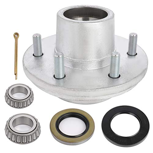 ECCPP Boat Trailer Hub Kit 6 Bolt 1 1/4 x 1 3/4 15123 x 25580 Silver Tapered Spindle Galvanized 5200-6000 lb. Silver