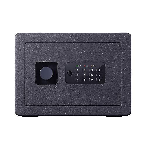 Caja Fuerte Pequena, Acceso con código Pin Digital, Puerta Cortada con láser y función de Bloqueo + Llave de anulación, Pernos de Montaje en Pared/Piso internos,Negro