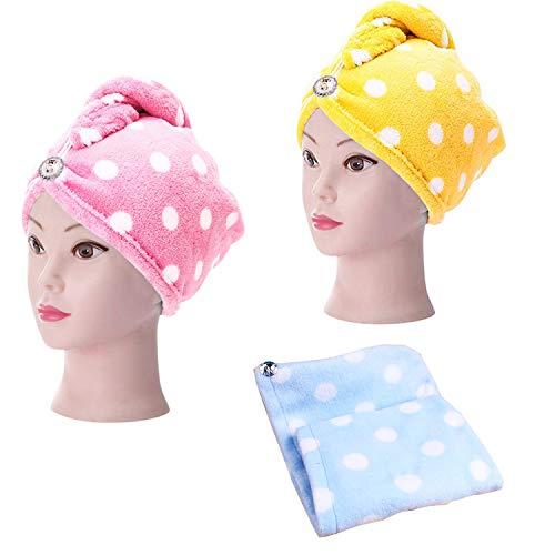 Trockenes Haar-Kappe,Turban Haartrockentuch,Polka Dot Flanell Cap für trockenes Haar,Kopfhandtuch mit Knopf Super Absorbent Mikrofaser Schnell trocknend(3 Stücke, Pink + Blau + Gelb)