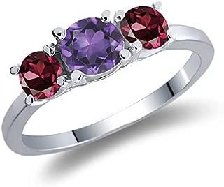 Gem Stone King 1.19 Ct Round Purple Amethyst Red Rhodolite Garnet 925 Sterling Silver Ring
