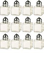 Circleware ガラスミニ塩コショウシェイカー 12点セット キッチンガラス食器保存容器 ヒマラヤ調味料スパイスに最適 0.5オンス クリア