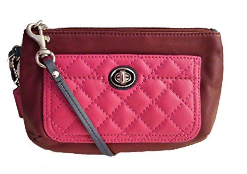 Coach Park Quilted Leather Medium Wristlet 50097 Burgundy