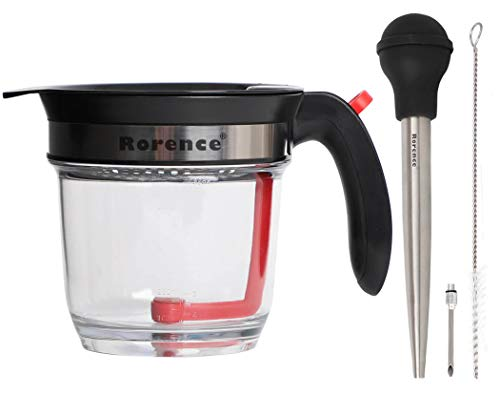 Rorence Roasting Gravy Set - Fat Separator with Strainer & Easy Bottom Release, Stainless Steel Turkey Baster with Cleaning Brush