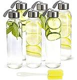 Glas Wasserflaschen 500ml Saft-Getränkebehälter 17 oz Mehrweg-Trinkflasche mit Schutzhülle und auslaufsicheren Kunststoffkappen, High Borosilicat-Flaschen für Saft, Getränke, Milch, 6er Pack