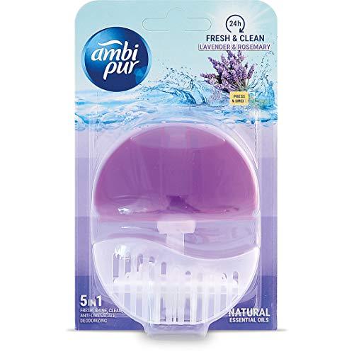 Ambi Pur 6 x WC - Lufterfrischer (Halter + Refill 55ml) - Lavendel und Rosmarin