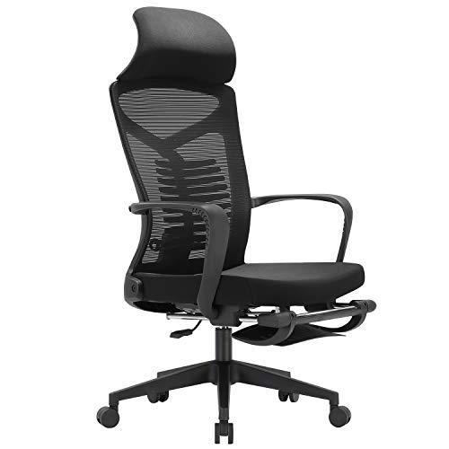 SIHOO Ergonomischer Bürostuhl, Lehnstuhl mit Verstellbarer Lordosenstütze und Verriegelungsfunktion Mesh-Stuhl mit hoher Rückenlehne und Fußstütze, maximale Belastung 150 kg (schwarz)