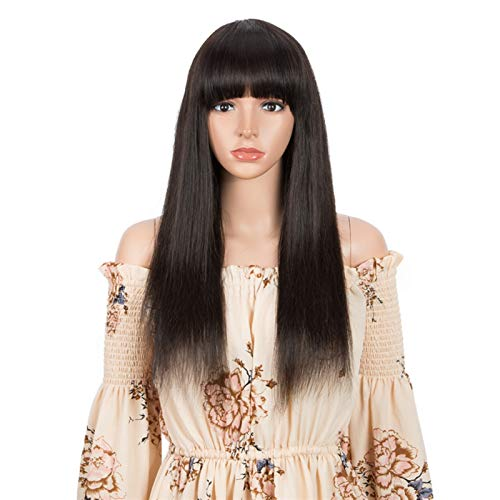 LWHAMA Straight 30InchHumanHairWigsWithBangsFullMachineMadeWigs Natural color wigs With Black Women Brazilian Remy Wig